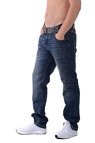 Herren Wak Dunkle Verwaschene Jeans Crosshatch Neue Jeans Straight Leg Mit Vernetzt Gürtel - Dunkle Waschung, W30 L30 Kurzes Bein
