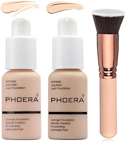2 Colors Phoera Foundation 101 102 Full Coverage Foundation Liquid Makeup with Foundation Brush product image