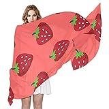 Swere Bufanda para mujer, chal largo, suave, elegante, accesorios para la cabeza, pañuelo de moda, pañuelo de fiesta, regalo, diseño de fresas, 70.9 x 35.4 pulgadas