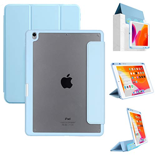 Tasnme iPad Case 10.5 Inch iPad Air 3rd 10.5' iPad Pro 10.5' (2017 Version) Detachable Magnetic Smart Stand Transparent Back Cover Pencil Holder Auto Sleep/Wake (Blue)