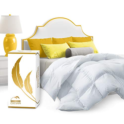 CUCUUN Real Luxury Down Comforter King Cali Size | 100% Egyptian Cotton 1200 TC 750+FP | White Goose Down Comforter | Corner Tabs for King Duvet Insert/Queen Duvet Insert/Twin Duvets