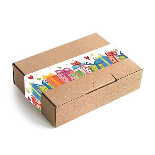 Logboek-uitgeverij kleine geschenkdozen kraftpapier MET sticker bont verpakking DHL maxibrief 18 x 13 x 4,5 cm geschenkdoos verjaardag doos natuur bruin 10 Stück
