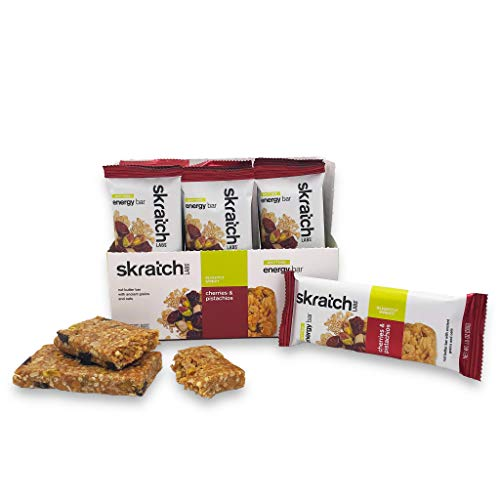 SKRATCH LABS Anytime Energy Bar, Cherries and Pistachios, (12 pack single serving) Low Sugar, Gluten Free, Vegan, Kosher, Dairy Free