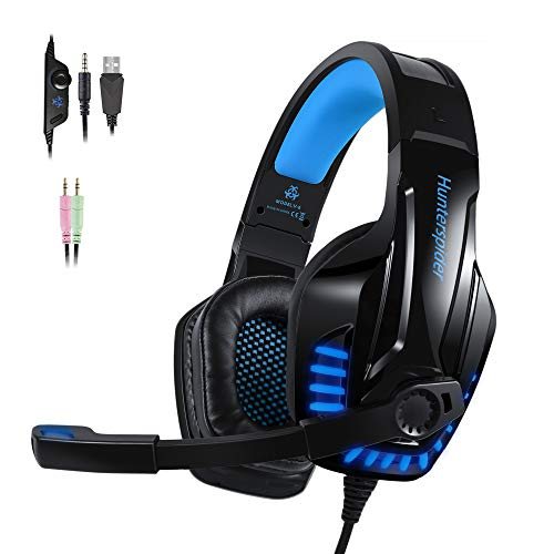 PS4 Gaming Headset with Noicse Cancelling Mic Over Ear Headphones LED Light Stereo Surround Sound, Lightweight Comfort for Laptop Mac Nintendo Switch Games - Blue