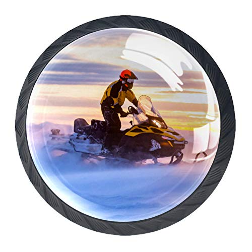 Perillas de Gabinete Redondas Amanecer en motos de nieve Perillas de Cajón 35mm Tiradores de Muebles con Tornillo Perillas Manijas para Armario Cajón Aparador Cocina 4 Piezas
