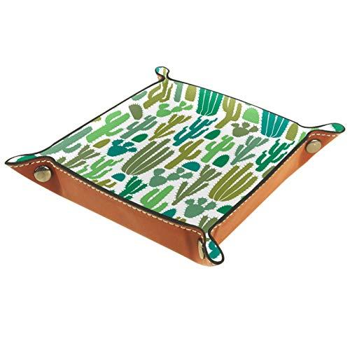 Bandeja de Valet Organizador de Escritorio Caja de Almacenamiento Cuero Amarillo Verde Azul Bandeja de Recogida de Plantas para Uso doméstico