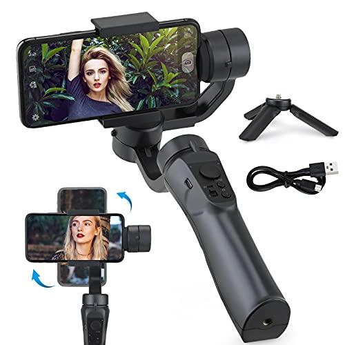 MATHOWAL Estabilizador para Smartphone, 3-Ejes Gimbal Movil con 3 Modos, Plegable y Portátil, para iPhone12/ 11/PRO/MAX /XS /Samsung / Huawei, con soporte de trípode,Batería Soporte para 6H, 2200mAh