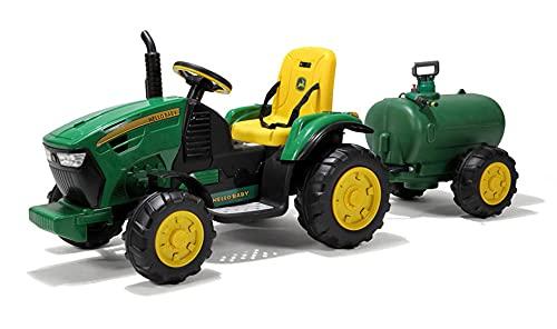ZLH 12V Ride En Tractor con Remolque, Vehículo Agrícola Eléctrico Eléctrico con Batería, Cargador De Tierra De Coche De Juguete con 2 Velocidades, Vagón Desmontable, Playa MP3,Sprinkler