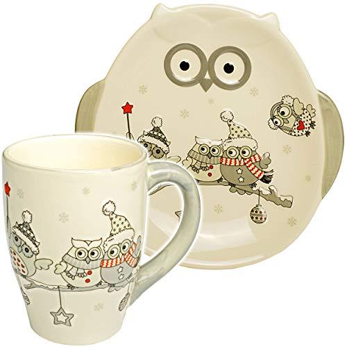 alles-meine.de GmbH 2 TLG. Set: 3D Effekt - Henkeltasse / Kaffeetasse + Teller - lustige Eulen im Winter - groß - 300 ml - Porzellan / Keramik - weiß Teetasse - Trinktasse mit He..