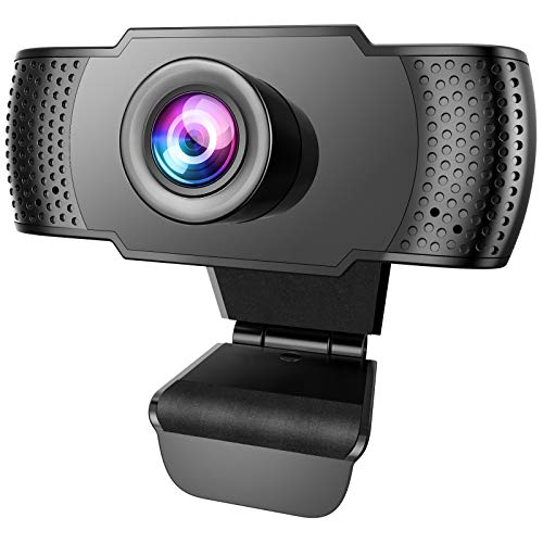 Anbes Webcam, HD 1080P Web Camera & USB PC Computer Webcam with Noise Canceling Microphone for Conferencing Video Calling Desktop or Laptop Webcam