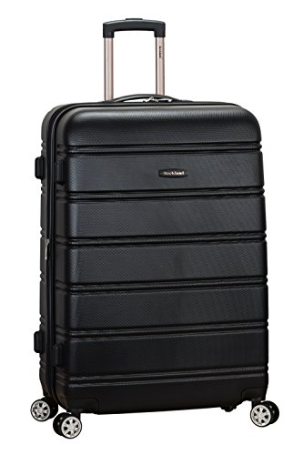 Rockland Melbourne Hardside Expandable Spinner Wheel Luggage, Black, Checked-Large 28-Inch