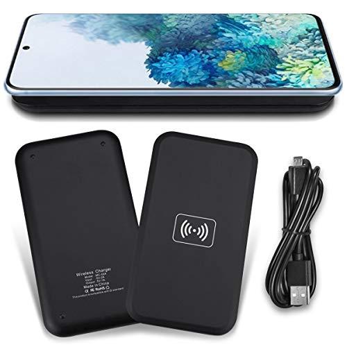 NAmobile Estación de carga inalámbrica QI compatible con Samsung Galaxy S20 / S20 FE Wireless Charger cargador inductivo universal, color negro