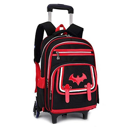 RLJYING Kinderwagen Schultasche Batman Trolley Schultasche Grundschule Rucksack Klettern Treppe Schultasche Red six Rounds