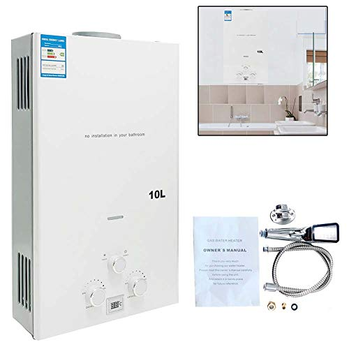 TABODD - Calentador portátil de gas natural de 10 l, 20 kW, para ducha, baño, agua caliente, camping, con cabezal de ducha, color blanco