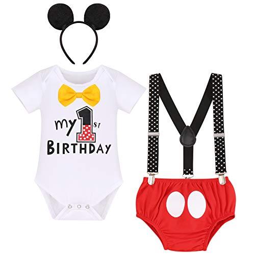 FYMNSI Conjunto de 4 piezas de algodón de manga corta para bebé, con tirantes y orejas, para el primer cumpleaños Blanco + Rojo Mi primer cumpleaños 12-18 Meses