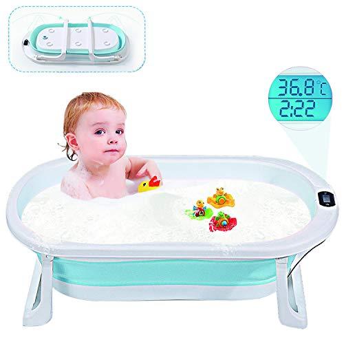 Smart panda Bañera Plegable para bebés, Lavabo de Ducha Antideslizante con Sensor de Temperatura en Tiempo Real, Asiento Integrado y reposacabezas Suave, bañera para bebés de 0 a 5 años