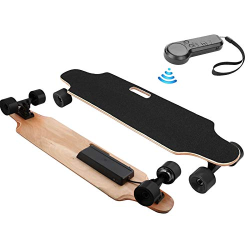 Electric Skateboard with Remote Control 250W Motor 12MPH Top Speed 10 KM Range 8 Layers Maple Longboard