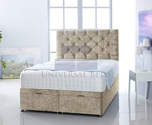 Universal Beds SOFT VELVET OTTOMAN FOOT LIFT STORAGE DIVAN BED BASE WITH MEMORY ORTHPAEDIC MATTRESS | FREE 26' HEADBOARD!!!! (6.0 FT - Super King, Soft Velvet Cream)