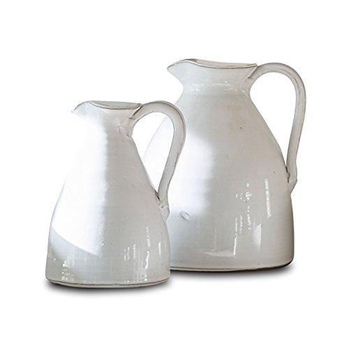 Loberon Krug 2er Set Yarick, Terrakotta, H/B/T ca. 23/19 / 18 cm, weiß
