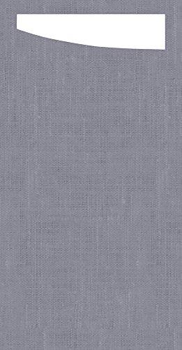 Duni 173682Sacchetto Besteck Taschen mit gefaltet Dunisoft Servietten Innen, 11,5cm x 23cm, grau Sacchetto und weiß Serviette (240Stück)
