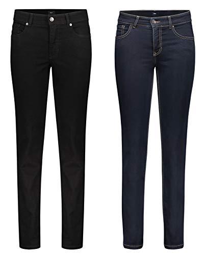 MAC Melanie - 2er Pack Damen Jeans in Verschiedene Farbvarianten, Größe18:W36/L32, Farbe:D999+D801