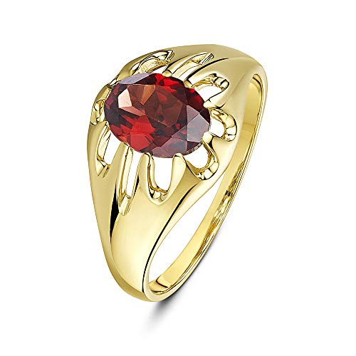 Theia Women's 9 ct Yellow Gold, Oval Garnet Stone Set in a Raised Designed Prong Setting Heavyweight Ring, Size N