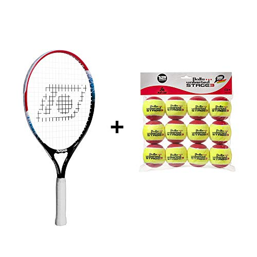 Topspin Tennis Kinderpaket Stage 3 (rot) - Kinderschläger + Tennisbälle