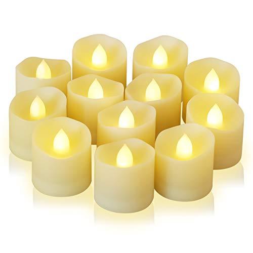 12 Pack LED Kerzen Teelichter LED Kerzen mit Timerfunktion, 6 Stunden an und 18 Stunden aus, LED Lichter Tischdeko flammenlose batteriebetriebene Kerzen für Haus Dekoration 3.2x3.6 cm Warmweiß
