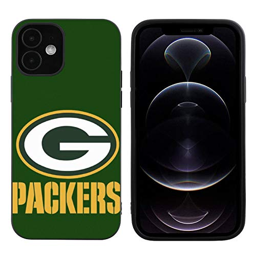 Phone Case for iPhone 12, High Impact Silicone TPU Shockproof Full Protection Phone Cover, Compatible with Case iPhone 12 Black-Green-Bay-Packers-Pattern 02