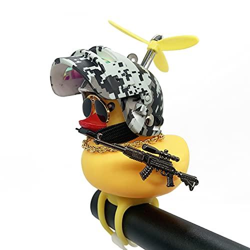 Shermosa Fahrradhupe Kinder Ente Fahrradklingel Ente mit Helm und Licht Ente Fahrrad Propeller für Kinder Jungen
