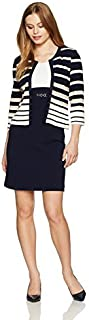 Sandra Darren Women's Petite 2 Pc 3/4 Sleeve Striped Sheath Jacket Dress with Belt