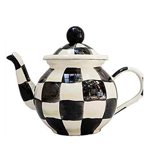 GJJSZ Bouilloire en Acier Inoxydable,Bouilloire,Pot,cafetière,théière Lavable,Noir et Blanc,0,7 L