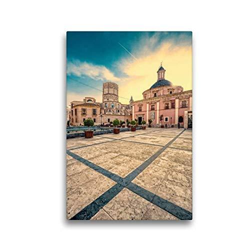 CALVENDO Premium Lienzo de 30 cm x 45 cm de Alto, Basílica de la Virgen de los Desamparados, Imagen sobre Bastidor, Listo en Lienzo auténtico, impresión en Lienzo Orte Lugares