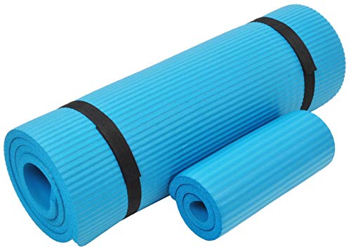 Everyday Essentials 1/2-Inch Extra Thick High Density Anti-Tear Exercise Yoga Mat with Knee Pad and Carrying Strap, Blue