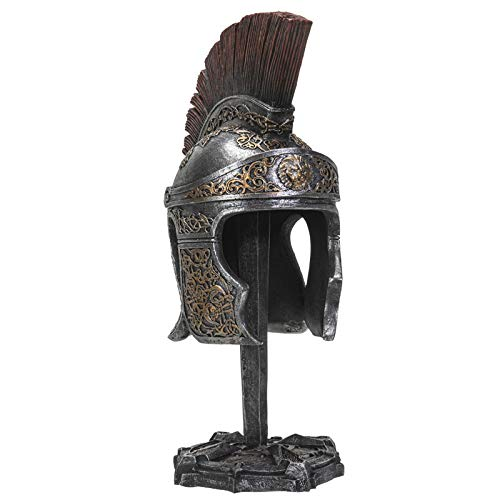 Tabletop Figurines Decoration, Standing Roman Soldier Spartan Helmet, Warrior Medieval Home Decor, 11.5 Inches