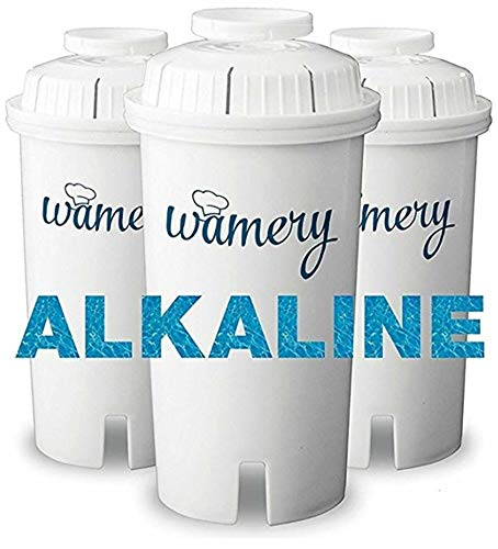 WAMERY Certified Alkaline Water Filter Replacement 3-Pack, Enhanced 2020 Model, Fits Brita and Wamery Pitcher, Increases Water pH, Removes Lead, Chlorine, Copper and more, Ionizer and Purifier System