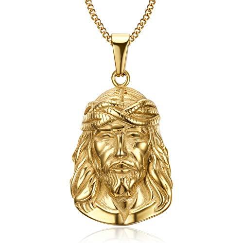 BOBIJOO JEWELRY - - Anhänger-Halskette Haupt Jesus Christus Edelstahl 316L mit Gold Kette