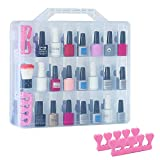48 Bottles Universal Clear Gel Nail Polish Organizer Case Holder for Double Side Adjustable Space Divider for Acrylic Nail Polygel Gel Dip Powder Tips Set with Two Toe Separator