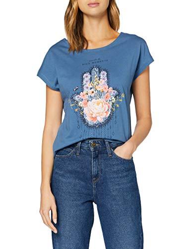 Springfield Camiseta Gráfica Lazo Espalda T-Shirt, Azul, S Womens