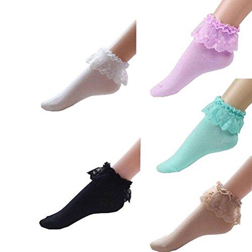Crew-Socken im Vintage-Spitzen-Design mit Rüschen am Knöchel, Baumwolle, 5 Paar
