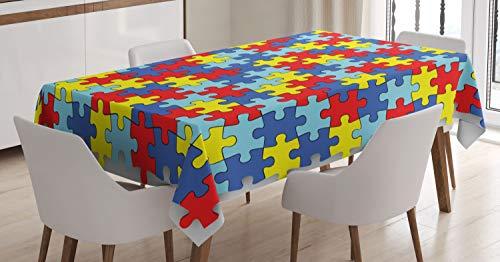 ABAKUHAUS Tekenfilm Tafelkleed, Kleurrijke puzzel stukjes, Eetkamer Keuken Rechthoekige tafelkleed, 140 x 200 cm, Veelkleurig