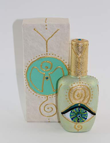 EYE OF HILARION Flacon Parfüm Flasche Auge Engel Spirale Ypsilon Wellness Harmonie Symbol Hellgrün Blau Türkis Gold Vergoldet Geschenk Set