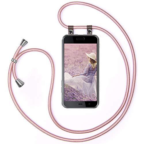moex Handykette kompatibel mit HTC U Play Hülle mit Band Längenverstellbar, Handyhülle zum Umhängen, Silikon Hülle Transparent mit Kordel Schnur abnehmbar in Rosegold