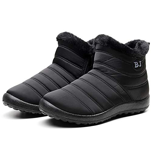 Camii Mia Women's Winter Fur Lining Warm Shoes Ankle Bootie Anti-Slip Waterproof Snow Boots(8, Black(1001-1))