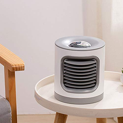 FASZFSAF Aire Acondicionado PortáTil, Acondicionador Humidificador Purificador LáMpara de ProyeccióN USB, Ventilador Escritorio Enfriador Aire, para Hogar Dormitorio Oficina,Dark Blue