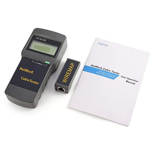 Heaviesk Multi-Netzwerkkabel Tester SC8108 Multifunktionales Netzwerk Tester Tragbare LAN Telefonkabel Meter & Tester Drahtverfolger LCD Display 5E 6E RJ45