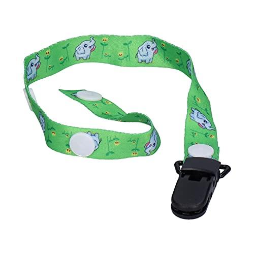 Pinza para chupete para bebé, pinza para chupete plegable de poliéster + PP multiusos para juguetes de dentición para paños para eructar para chupetes(Green elephant)