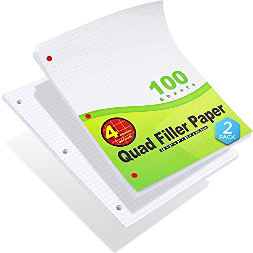"""Emraw 4-1"""" Filler Paper Quad Ruled Loose Leaf Filler Papers Comes with a 3 Hole Punch Perfect for Data and 2D Graphs 200 Papers - 2 Pakcs of 100)"""
