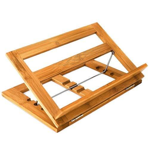 Relaxdays Lutrin de cuisine en Bambou HxlxP : 22 x 33 x 22,5 cm Support porte-livre de recettes inclinable 3 positions en bois notes partition, nature
