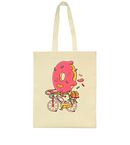 Sweet Donut Riding A Bicycle Artwork Tote Bag